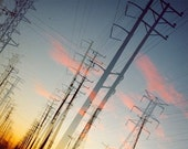 here, the early morning sky: power line photo. colorful sunrise sky photograph. industrial decor. fine art print. multiple exposure photo.