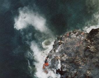 formation: nature photography. Kilauea volcano landscape photo. Pele big island hawaii art. aerial pacific ocean photography. fine art print