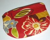 Red Floral Zipper Pleated Coin Purse Wallet Makeup MP3 ITouch Cell IPhone case Pouch Bag
