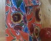 Oilcloth Lunch Bag-Orange Bloom