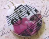 Music  Notes and Rose Mini Pendant
