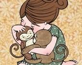 Monkey Hug 5 x 7 print