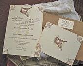 Vintage Wedding Invitation- Rustic Bird