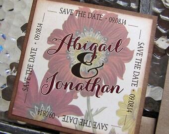 Vintage Wedding Save the Date Magnets Autumn Florals