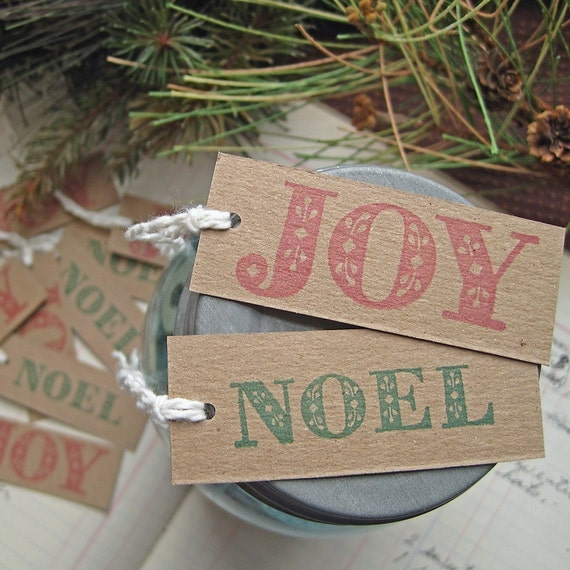 Recycled Chipboard Holiday Gift Tags JOY and NOEL