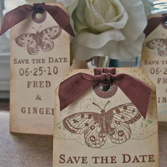 Save the Date Shipping Tag Magnets -Butterly and Doilies