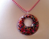 Round Resin Sprinkle Necklace - RESERVED FOR SAHNIKA