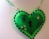 Neon Green Anatomical Asylum Resin Heart Lock Necklace - RESERVED FOR SAHNIKA