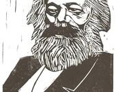 Portrait of Karl Marx - Original Handpulled Linocut Print