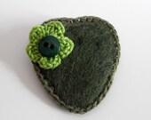 Brooch Felt Heart safety pin Green Shades - Handmade brooch Crocheted Flower