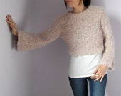 Cropped Turtleneck Hand Knitted Sweater with long Sleeves