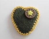 Brooch Felt Heart safety pin Green Yellow brown- Handmade brooch Crocheted Flower