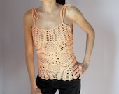 Crocheted tank top Salmon Peach Coral Orange - Handmade Summer Women Sexy - Easy to wear