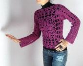 Crocheted Lace Sweater Tank Long Sleeves Pink - Handmade OOAK - Urban Cool