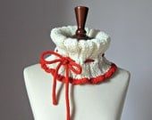 Knitted Cowl Neckwarmer White and Red with Ribbon Bowtie Adjustable Handmade - One Size - Super soft