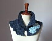 Knitted Cowl Neckwarmer Dark Blue and Baby Blue - Handmade - Crochet flower