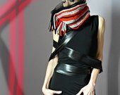 Knitted Cowl NeckwarmerScarf - Handmade - Red Black Grey Gray - Fringes - Wool and Tulle - Italian fashion - Post Apocalypse Survivor