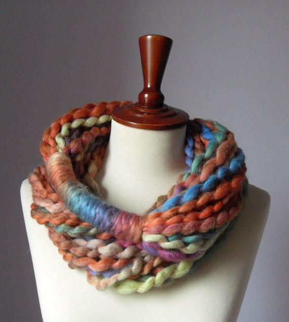 Infinity Scarf Orange Pink Blue Brown Turquoise - Chunky - Accessories - Long - MINI LOOP SCARF