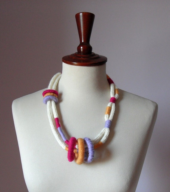 Knitted Necklace White Cream Pink Lilac Orange - Fiber Art Textile Necklace - Handmade - ETHNIC (06)