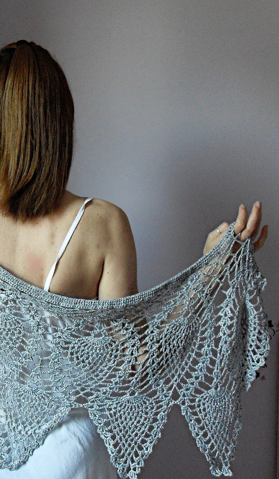 GREY PINEAPPLES- Hand Crochet Wrap