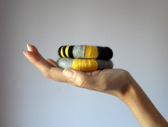 Knitted Bracelet Grey Gray Black Yellow - Fiber Art Textile Bangles - Handmade - ETHNIC (12)
