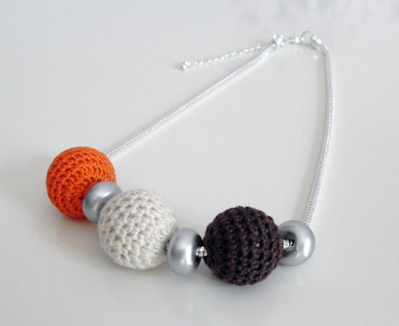 Crochet Balls Necklace with Silver Chain - Brown, Orange and Cream Ivoy Colors