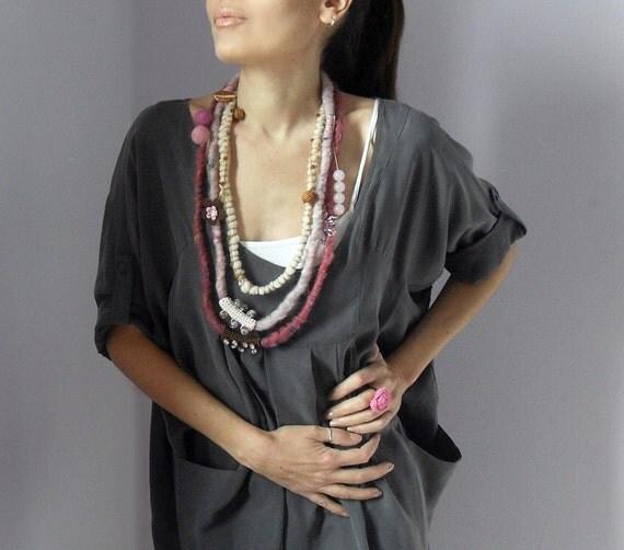 Fiber Art Crochet Textile Necklace Pink Shades and Brown Beaded - Handmade - Italian Mood (04)