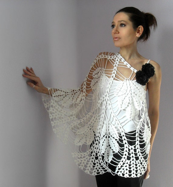 Reserved for Chrissy - Hand Crochet Lace Wrap Shawl - WHITE LEAVES- Cotton