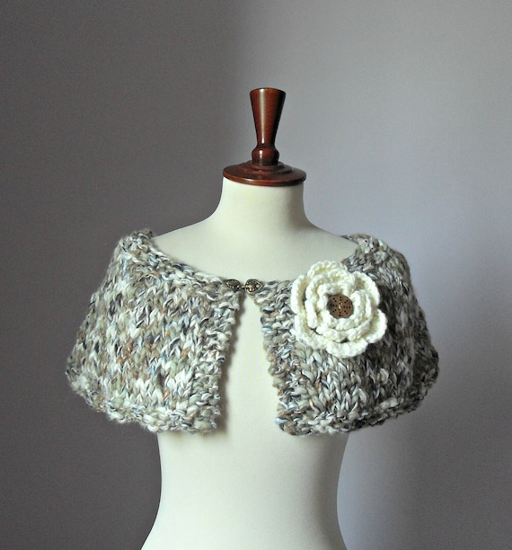 Knitted Capelet Brown Shades Cream Nut - Handmade - Flower Brooch - Medium Size