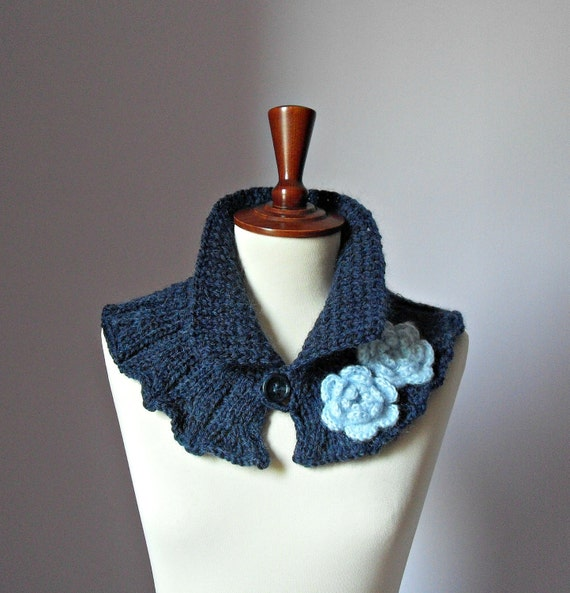Knitted Cowl Neckwarmer Dark Blue and Baby Blue - Handmade - Crochet flower