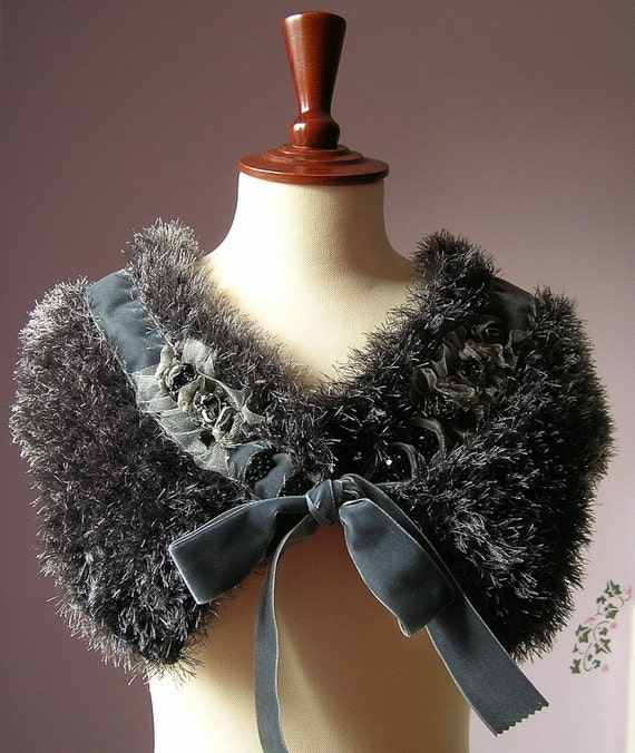 GATSBY - KNITTING FAUX FUR CAPELET VINTAGE STYLE