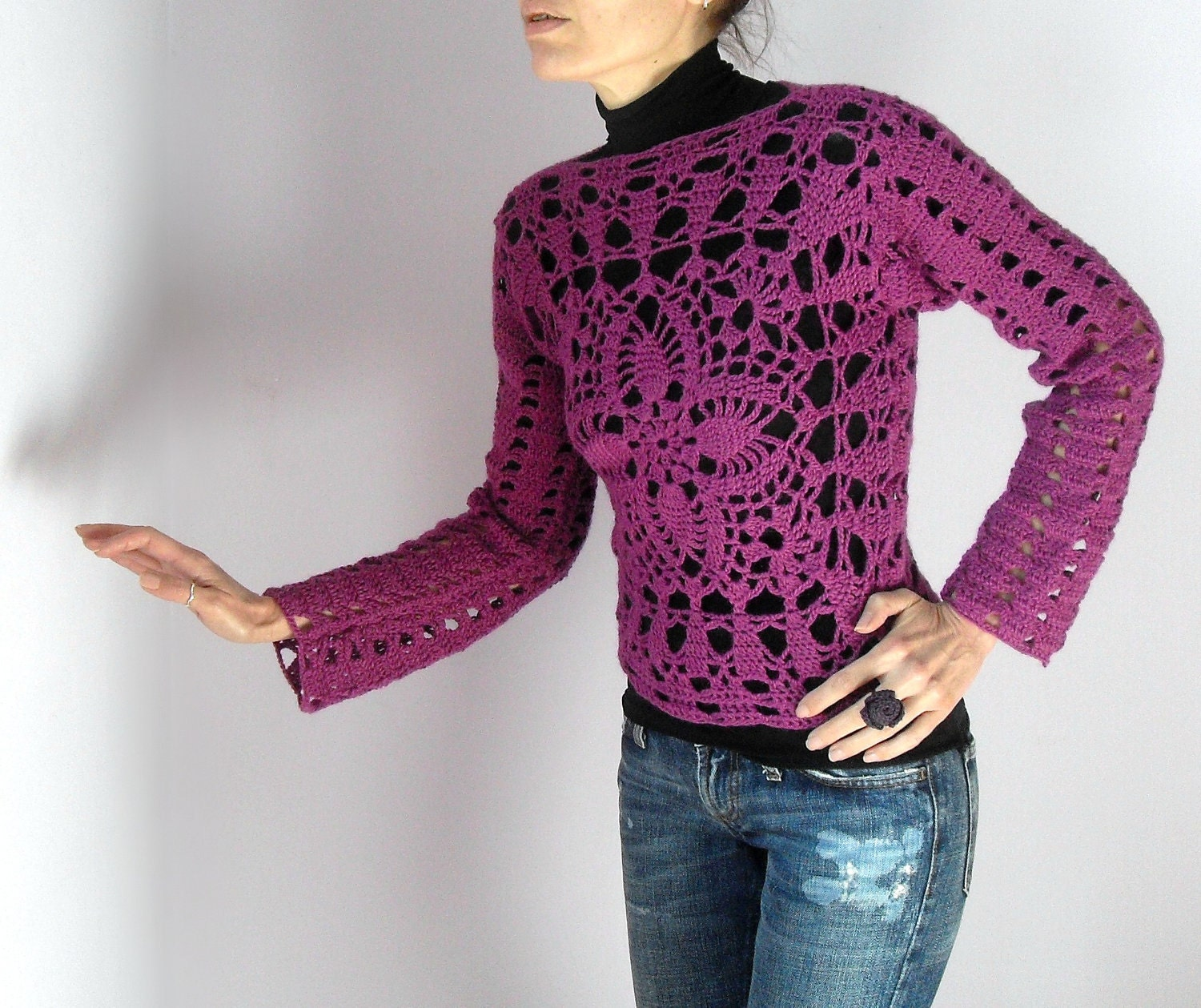 Crocheted Lace Sweater Tank Long Sleeves Pink By Silvia66
