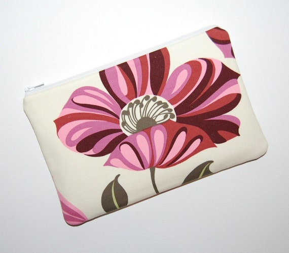 Maroon Grandiflora eReader Zipper Case - Amy Butler Nigella
