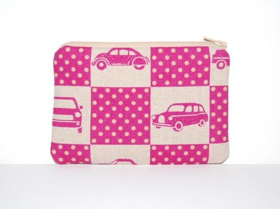 Zipper Pouch Pink Car Box Etsuko Furuya Echino Ni-Co
