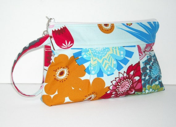 Wristlet Zipper Pouch Summer Totem in Strudel Anna Maria Horner LouLouThi