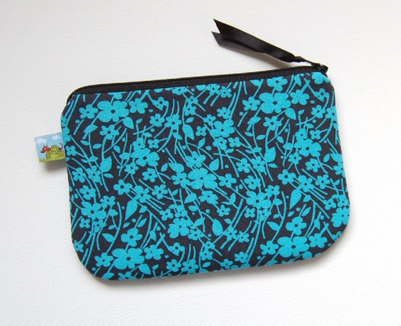Cell Phone Case Padded Zipper Pouch Gadget Bag Blue Tossed Flowers Denyse Schmidt