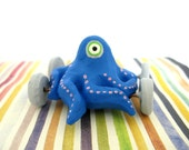 One Eyed Octopus on Wheels - Mini Sculpture (Blue) -