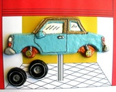 Powder Blue Car with Removable Wheels Magnet Set