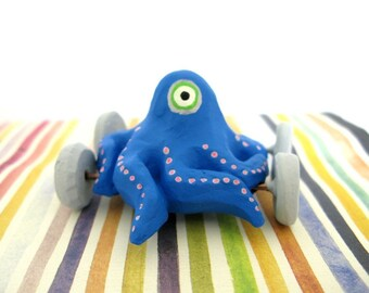 One Eyed Octopus on Wheels - Mini Sculpture (Blue) - (LAST ONE)