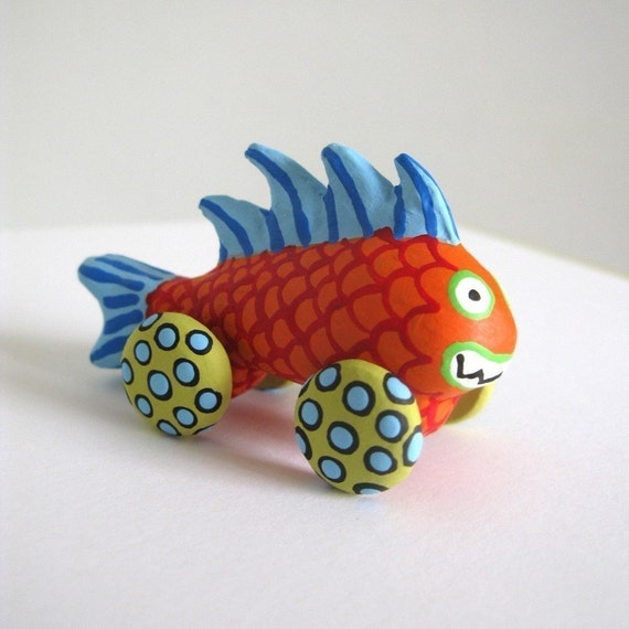 Orange Monster Fish - Mini Sculpture on Wheels