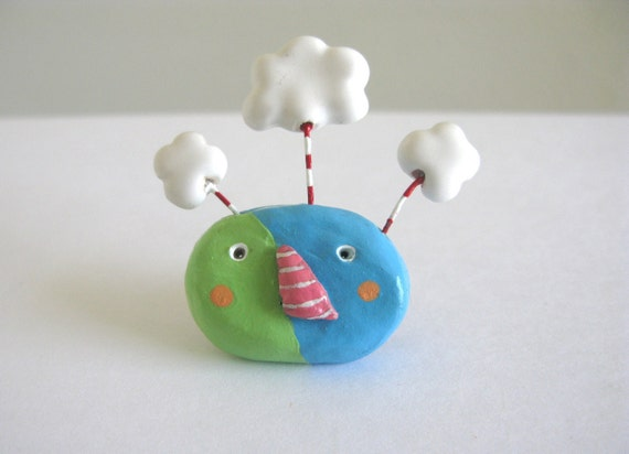 Cloud Guy Brooch - ceramic pin - handmade one of a kind painted and glazed ceramic
