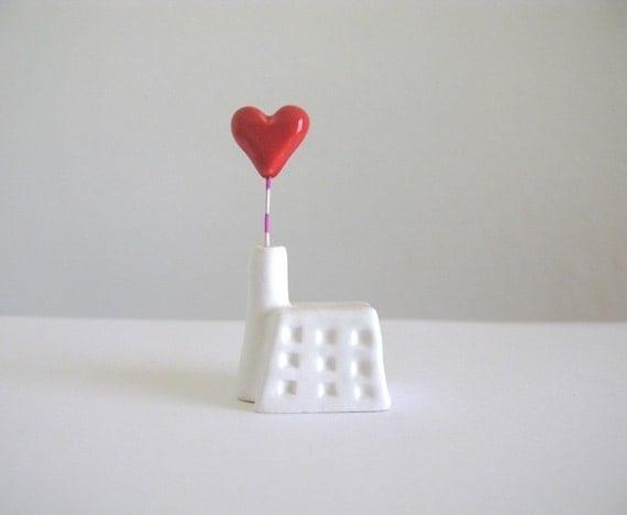 Heart Factory - little ceramic house sculpture