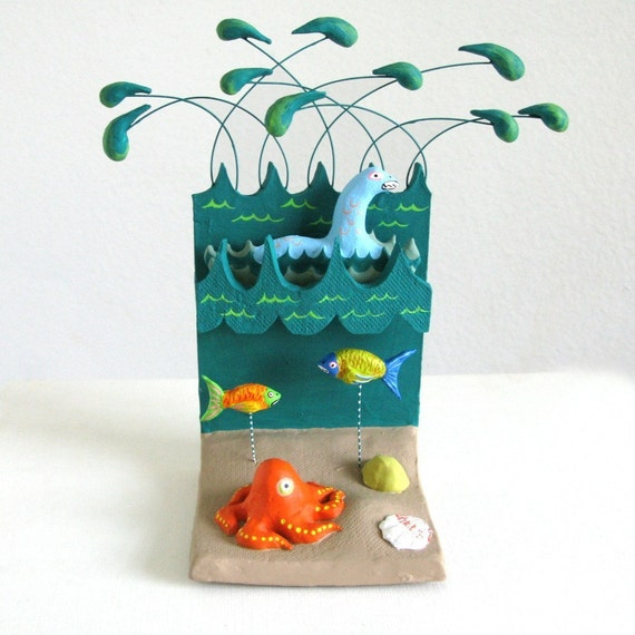 Underwater Scene Loch Ness Monster Mini-Sculpture