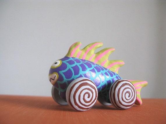 Purple Monster Fish - Mini Art Pull Toy Sculpture - LAST ONE