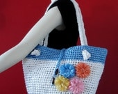 Adorable Eco-Friendly Bag made from plarn in white and blue with flowers
