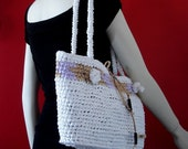 Adorable Eco-Friendly Bag made from plarn in white/purple/brown