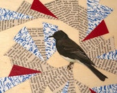 SALE - Colourful Abstract Bird Collage on Wood