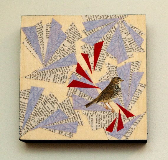 SALE - One of a Kind Mixed Media Collage with Bird