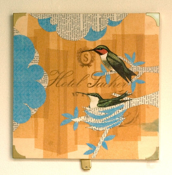 Humming Bird Collage on Reclaimed Wood