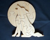 Wolf howling at the moon - Children's wood puzzle game - New Toy - Hand made - Child safe